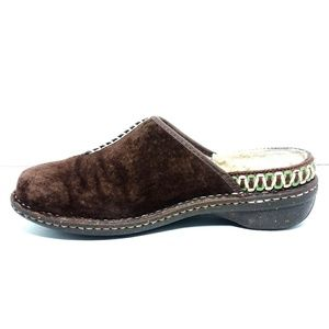 UGG Brown Suede Leather Slip On Mule Clogs Sz9